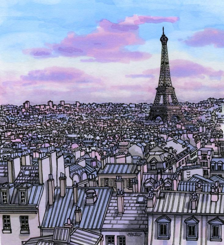 Paris, France  Here you can see my process. I tend to lay down the base colours and sky first. Then build the city on top of that. It would make more sense to finish all the colouring before adding detailed pen work, but I get restless and can't help myself. (Illustration by Maxwell Tilse)