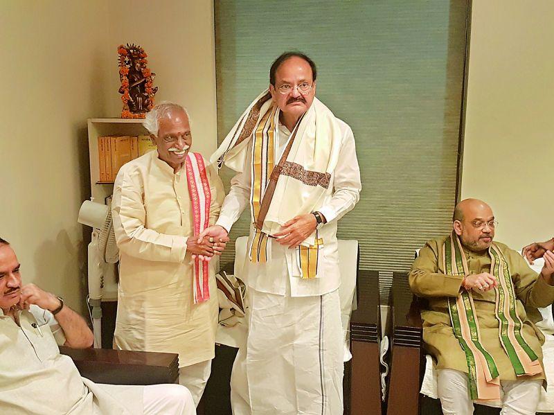 Union minister M. Venkaiah Naidu with Bandaru Dattatreya