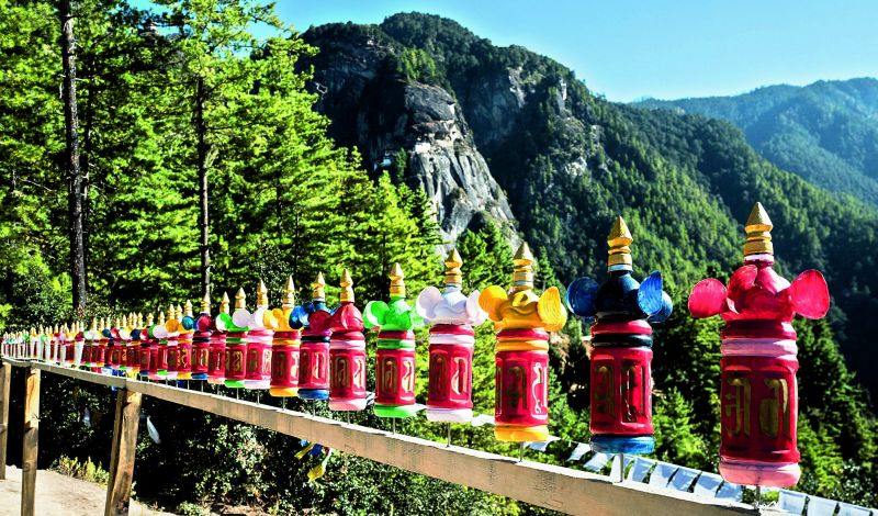 Prayer wheels on the way to the Tigers Nest.