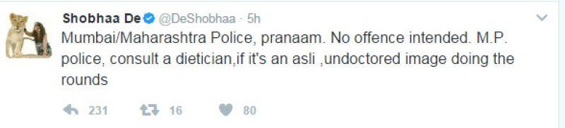 Shobhaa De apologises after Mumbai Police slams her for tweet