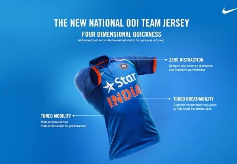 Team India new ODI jersey, BCCI. 4D Quicknes, Indian cricket team new ODI jersey