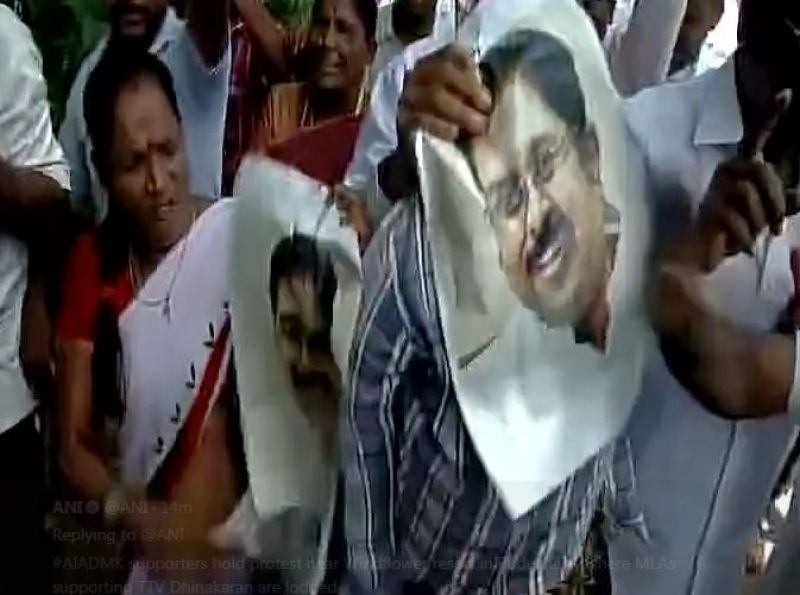 Protests in Puducherry. (Photo: ANI | Twitter)