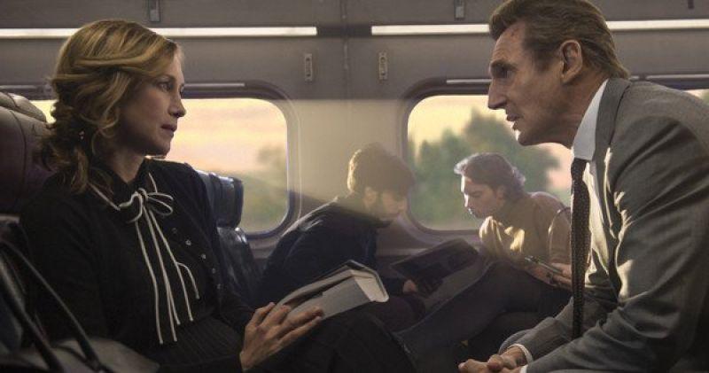 Liam Neeson and Vera Farmiga in the still from 'The Commuter'.