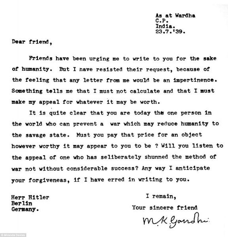 In letters gandhi addressed hitler as dear friend asked him to 3 spiritdancerdesigns Images