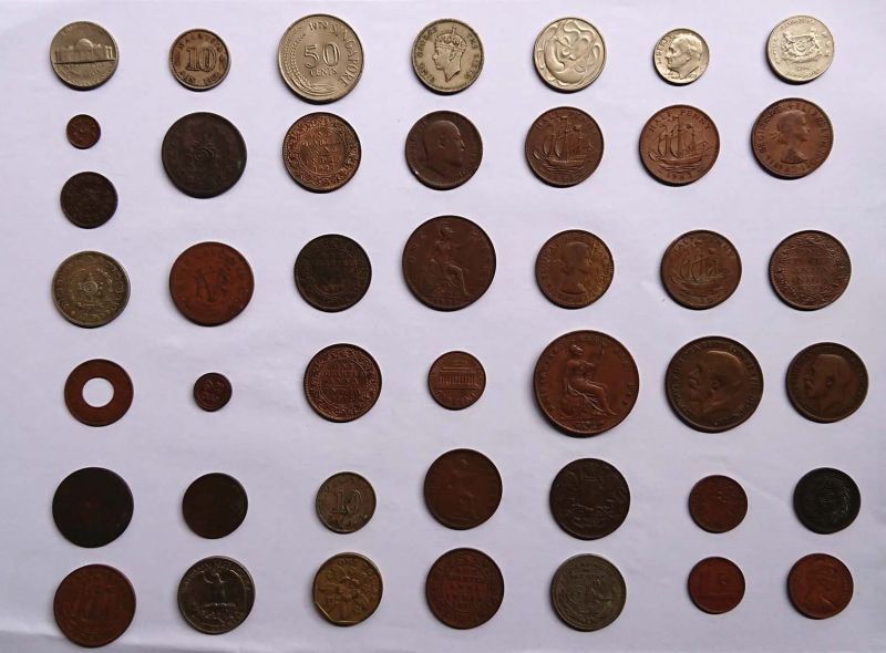 A part of the coin collection donated by P.K Sathyavati