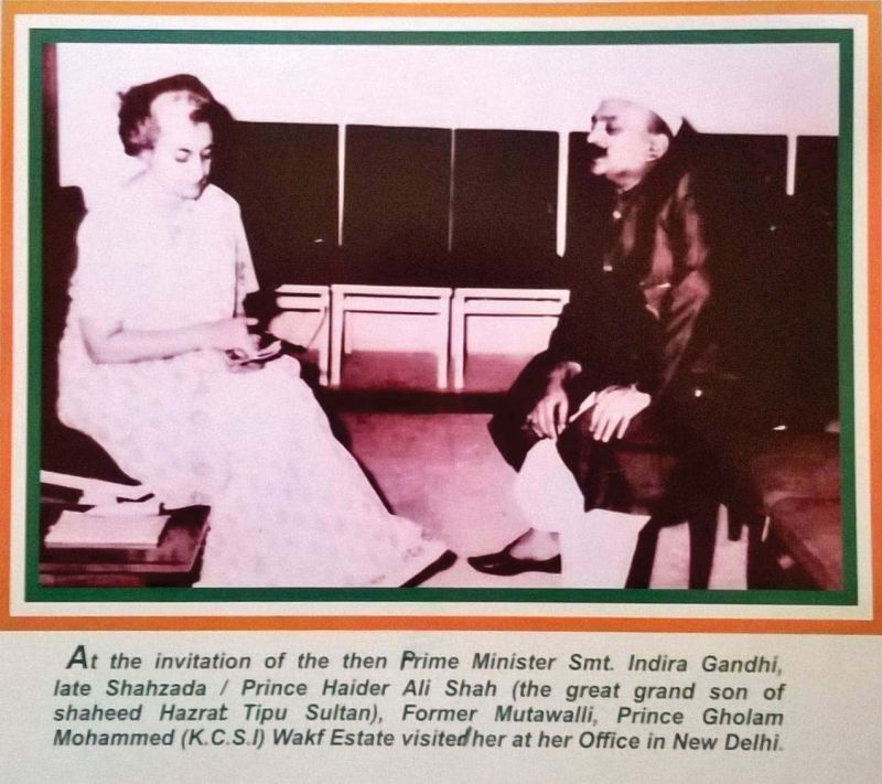In 1978, Prince Haider Ali Shah, the great grandson of Tipu Sultan, was invited to visit Prime Minister Indira Gandhi in Delhi.