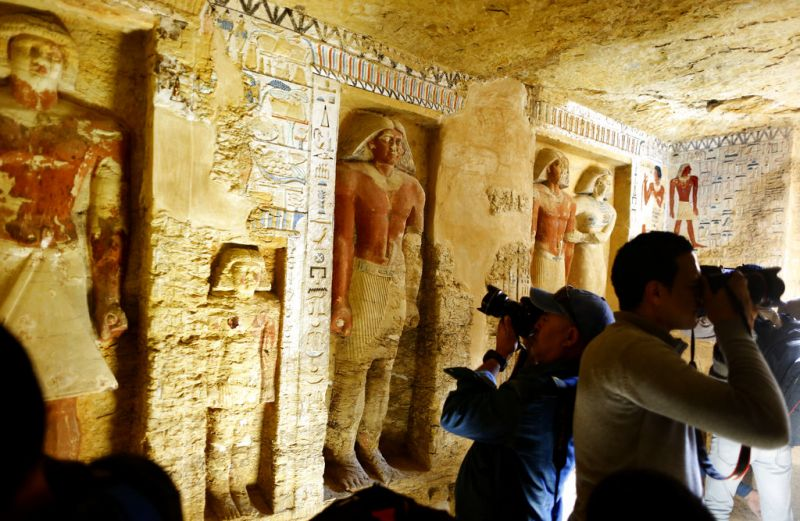 The Egyptian Archaeological Mission working at the Sacred Animal Necropolis in Saqqara archaeological site succeeded to uncover the tomb, Antiquities Minister Khaled el-Anani, announced. (Photo: AP)