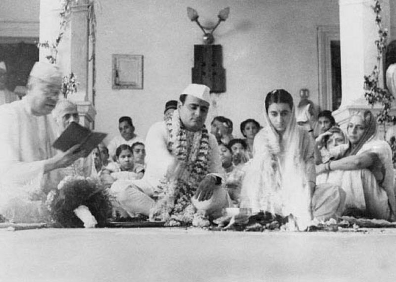 The wedding of Feroze and Indira on March 26, 1942, at Anand Bhawan, Allahabad