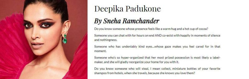 Deepika Padukone's bestie's letter for her.