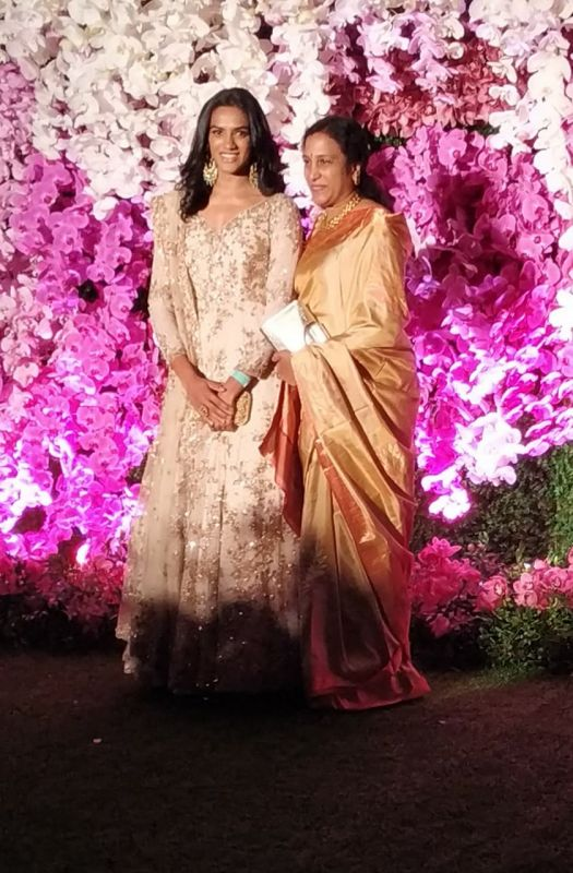 PV Sindhu with her mother P. Vijaya. (ANI Photo)