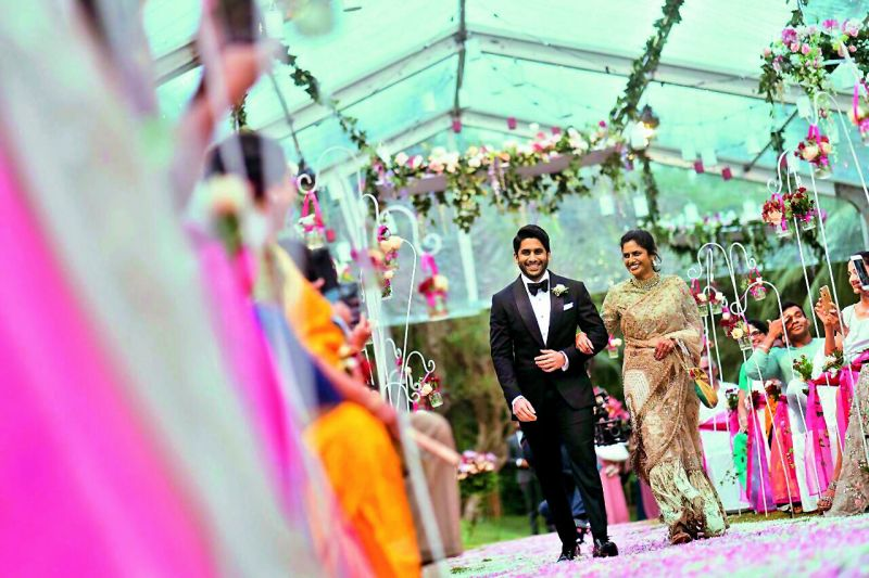 Naga Chaitanya walked to the altar hand-in-hand with mother Lakshmi who was all smiles.