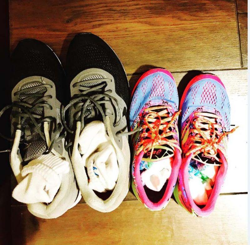 Lara and Mahesh's funky gym shoes