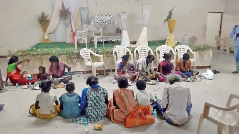 Food being served to the rescued bonded  labourers as a rehabilitation measure. (Photo: DC)