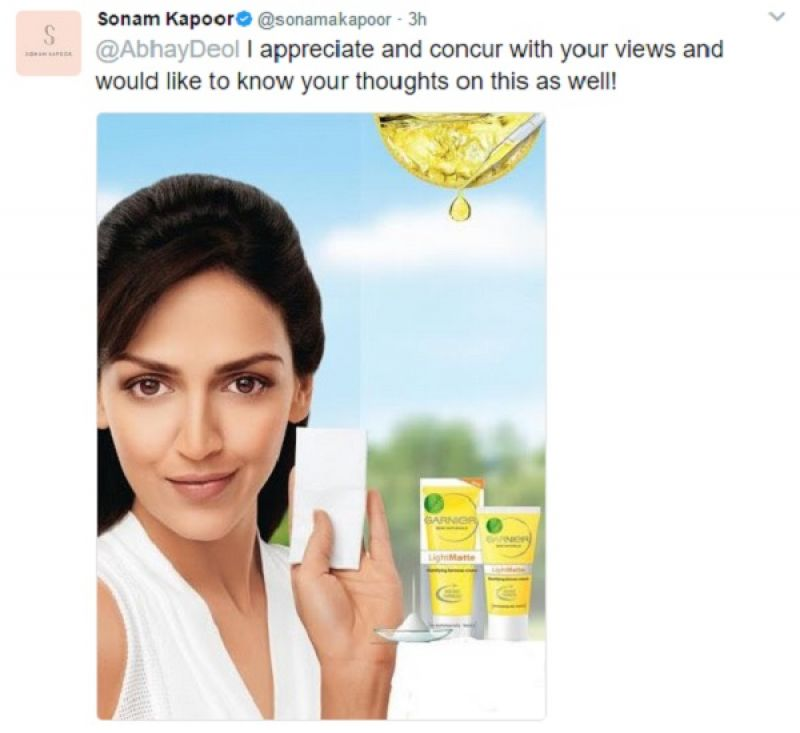 Sonam trolls Abhay for slamming her for endorsing fairness creams, deletes tweets