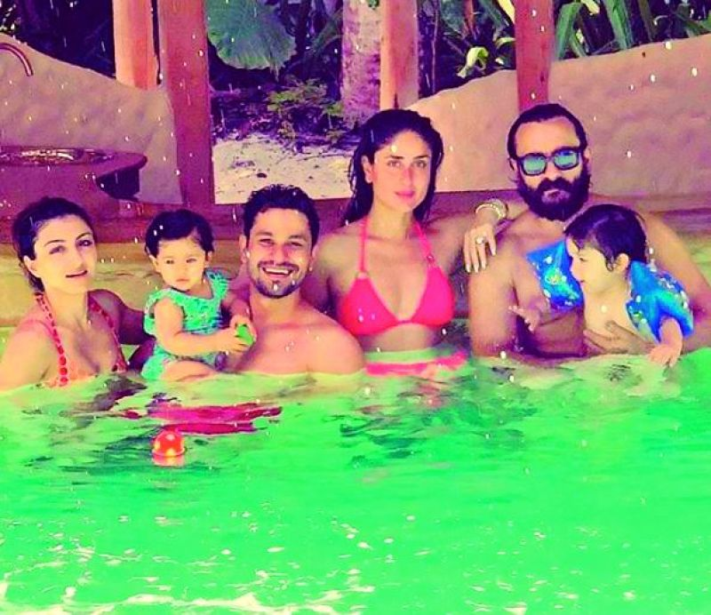 Kareena Kapoor, Saif Ali Khan and son Taimur with Soha Ali Khan, Kunal Kemmu and daughter Inaaya during Maldives vacation.