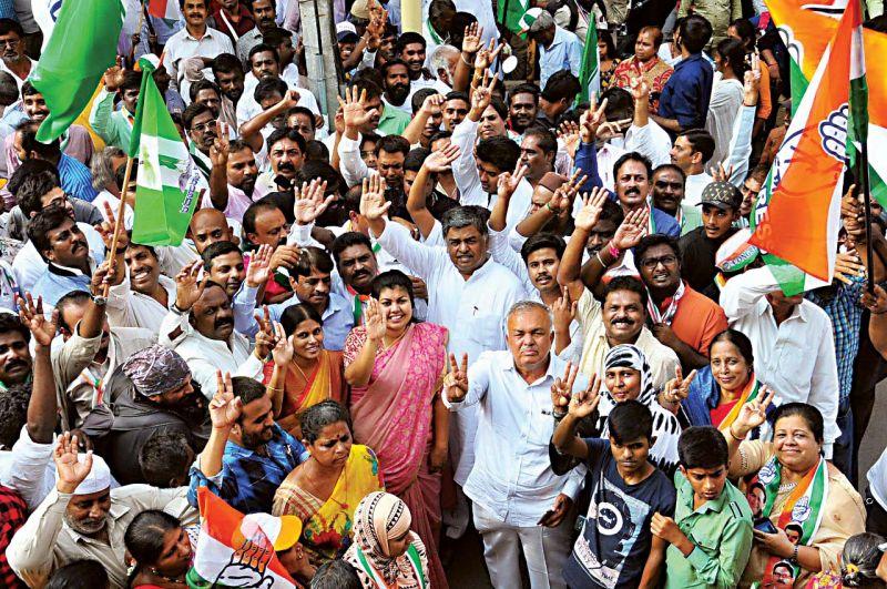 Congress candidate B.K. Hariprasad campaigns with MLAs Ramalinga Reddy and Sowmya Reddy