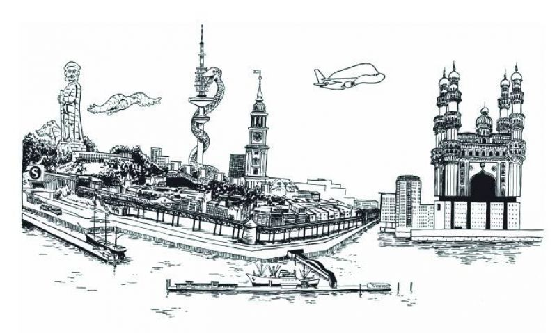 The double spread artwork showcasing the Charminar and Elbphilharmonie in Germany