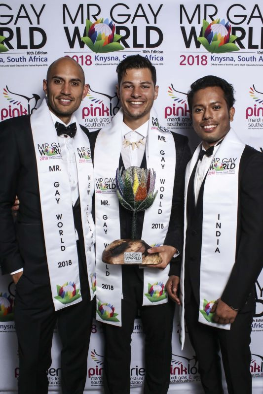 From left to right, First runner up Ricky Devine-White from New Zealand; Jordan Bruno, Mr Gay World 2018 and Samarpan Maiti, Second runner up