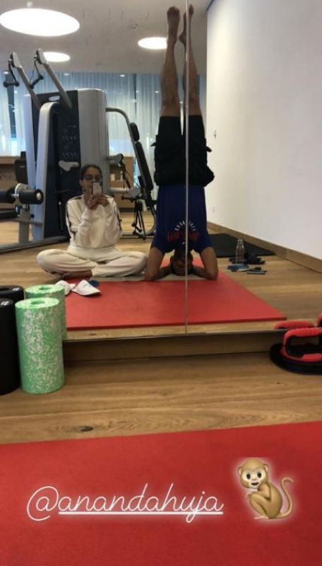 Sonam Kapoor and Anand Ahuja at the gym.