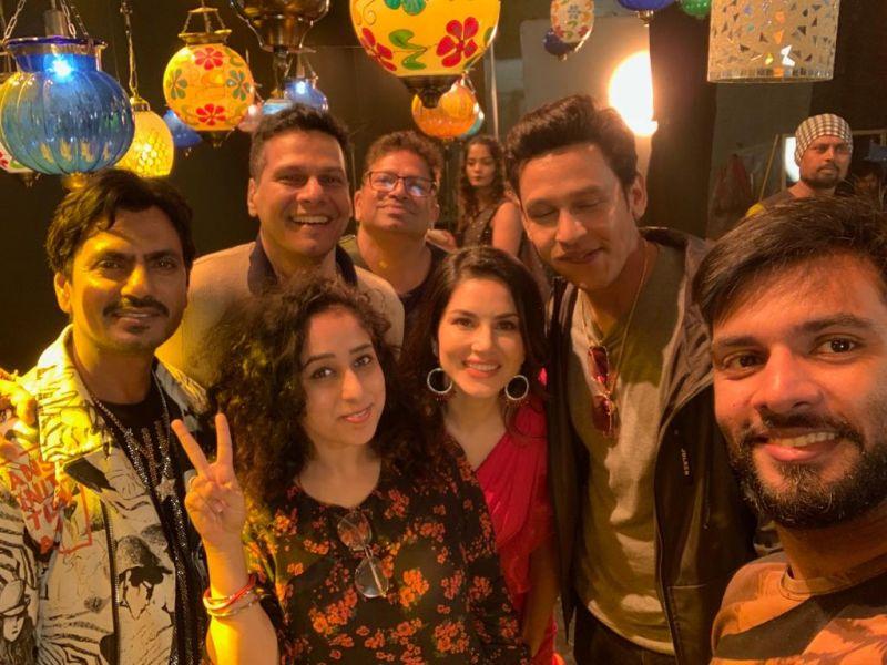 Nawazuddin Siddiqui with Sunny Leone and team.