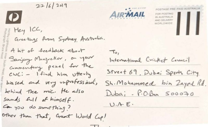 Aditya Kumar's postcard to ICC addressing his concerns about the matter.