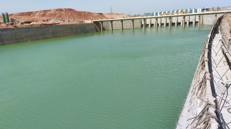 Water stored inside the head regulator of the Kannepalli pump house. (Photo: DC)