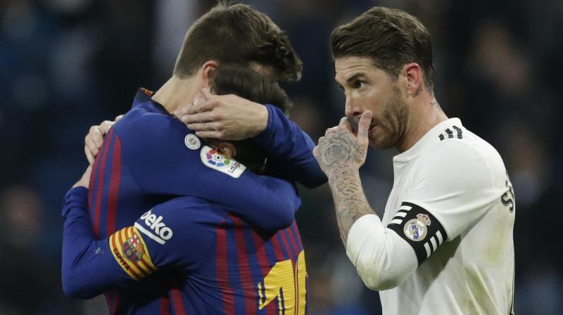 The only goal of the game came from a clever cross by Lionel Messi although Barca's captain was kept unusually quiet for the remainder, after being left with a bloodied face from a clash with United's Chris Smalling.  (Photo: AP)