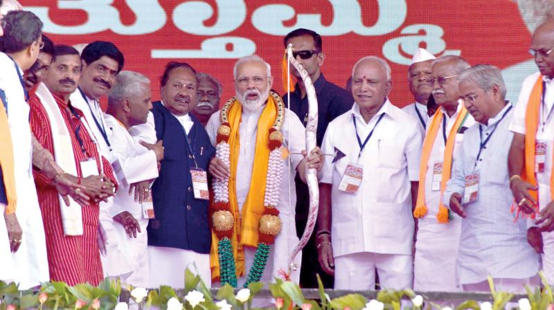 Prime Minister Narendra Modi at a BJP rally in Bagalkot on Thursday  (Photo: KPN)