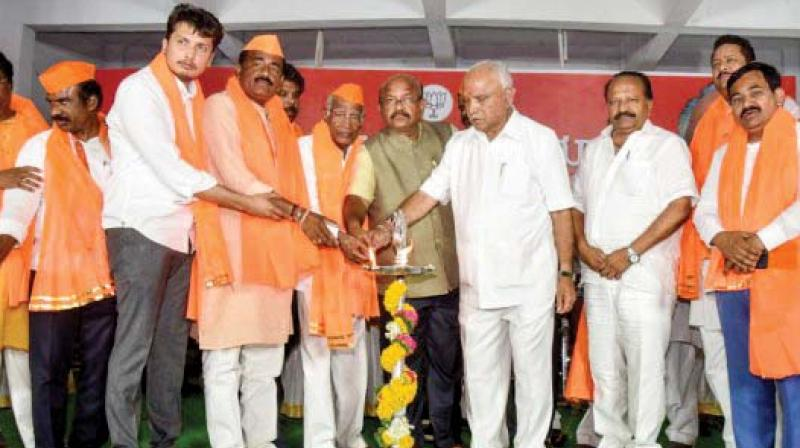 A file photo of state BJP chief B.S. Yeddyurappa inaugurating a convention of Veerashaiva-Lingayats in Kalaburagi.