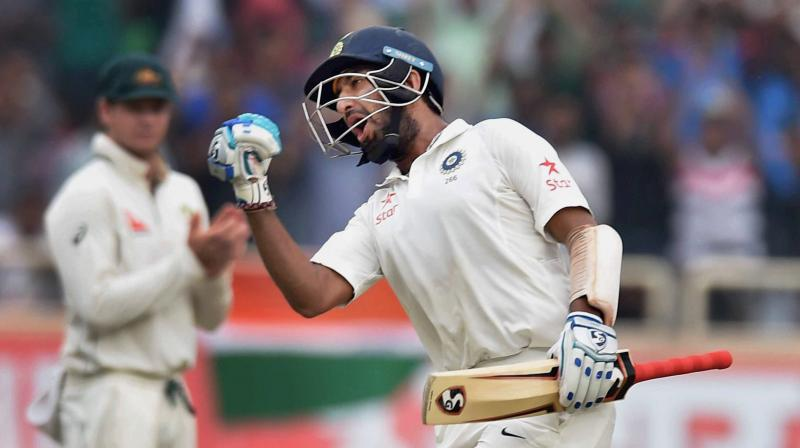 The match has undoubtedly been set up by Pujara's (202) marathon vigil which lasted for more than 11 hours (672 minutes). (Photo: PTI)
