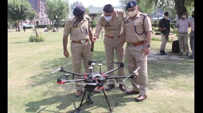 Jammu and Kashmir police on Thursday carried out a successful trial of drones that will be used for aerial surveillance on August 15, which marks the 75th Independence Day. (Photo by - HU Naqash)