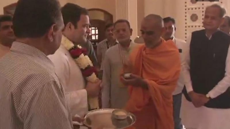 Congress Vice President Rahul Gandhi visits Akshardham Temple in Gandhinagar. (Photo: ANI/Twitter)