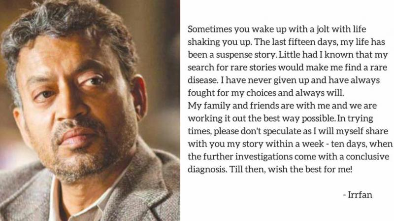 Irrfan Khan and his statement on 'rare disease'.