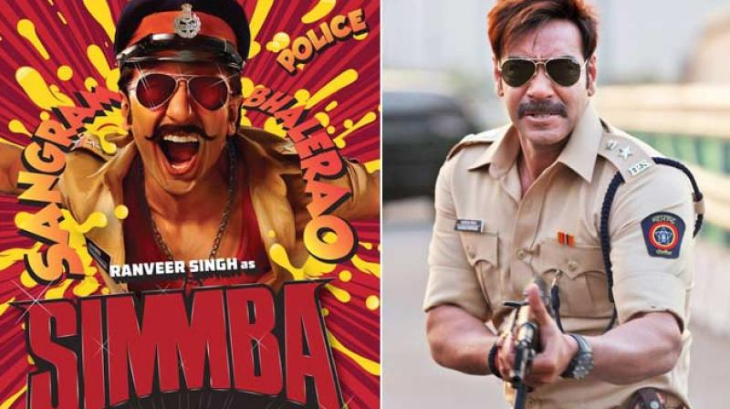 Ranveer Singh on 'Simmba' poster, Ajay Devgn in a still from 'Singham'.