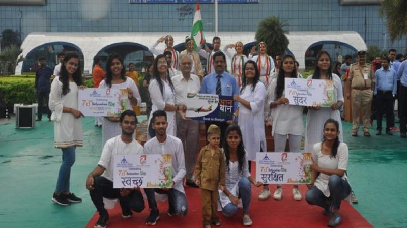 IDT students, through their performance, gave the message of keeping the Surat airport clean and maintaining its beauty. They also acknowledged the fact of Surat getting its own very first international flight this very year. (Photo: ANI)