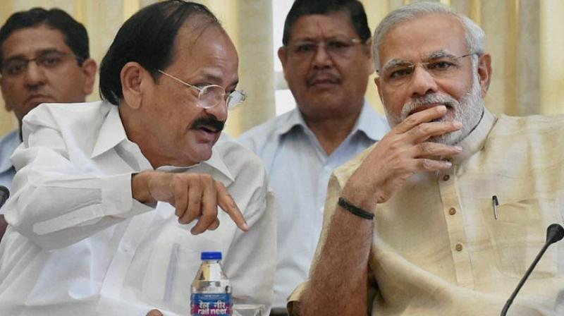 Venkaiah Naidu with PM Narendra Modi. (Photo: PTI)