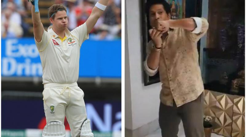 Former Indian cricket legend Sachin Tendulkar has recently praised ICC's number one Test batsman Steve Smith and said that his 'organised mindset' and 'complicated technique' differentiates him from other batsman because of their conventional batting style. (Photo:AP/ Twitter/ screengrab)