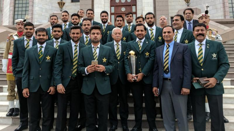 Ahmed Shehzad invited the latest round of criticism after he stood in the front row, with a mobile in hand, during Pakistan cricket team's visit to Prime Minister's office. (Photo: TheRealPCB Twitter)