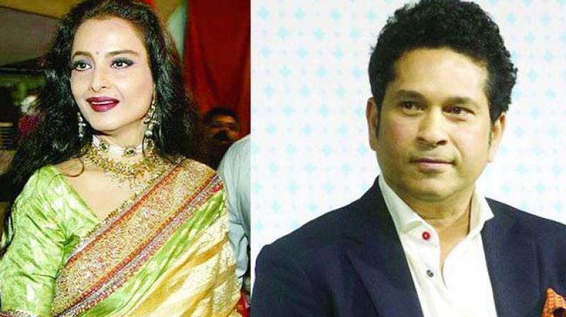 Rekha and Sachin Tendulkar