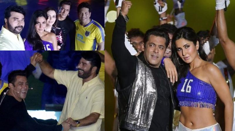 Salman Khan and Katrina Kaif were the star attractions at the inauguration ceremony of the Indian Super League in Kochi on Friday. (Photo: Twitter/ @IndSuperLeague)