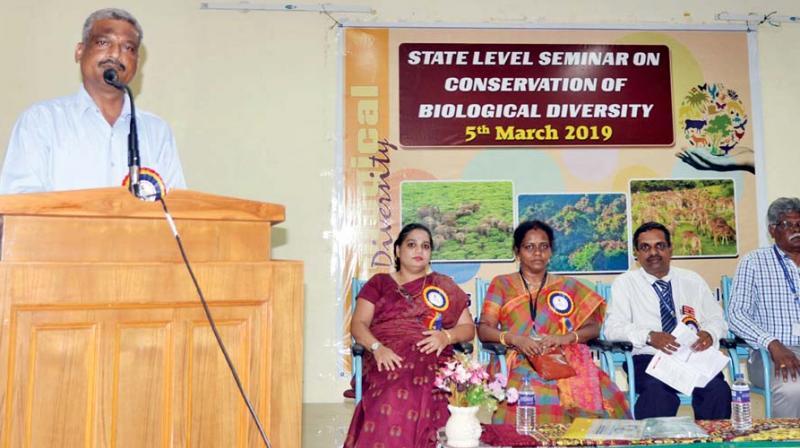 Dr A Kumaraguru, conservation scientist addresses media in Tiruchy on Tuesday.