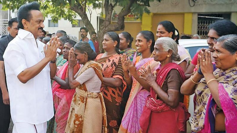 DMK president M. K. Stalin goes on a door-to-door  campaign for party candidate P. Saravanan in the Thiruparankundram constituency on  Friday.  (Image: KASI MANIKANDAN)