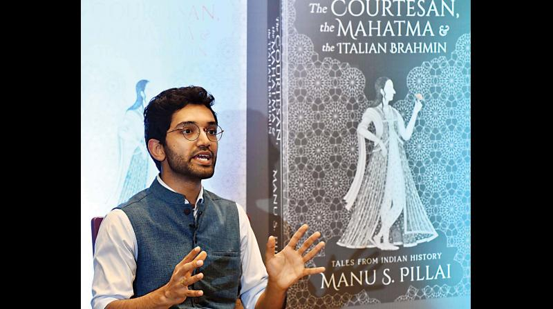Manu S. Pillai at the launch of his book The Courtesan, the Mahatma & the Italian Brahmin: Tales from Indian History in Bengaluru on Thursday. (Photo: R. Samuel)