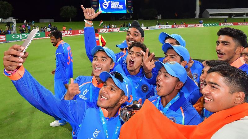 The world team has the top three of the Indian batting line-up – captain Prithvi Shaw (261 runs), player of the final Manjot Kalra (252 runs) and player of the tournament Shubman Gill (372 runs).Left-arm spinner Anukul Roy (14 wickets) and fast bowler Kamlesh Nagarkoti (9 wickets) are the other Indians named in the world team. (Photo: AFP)