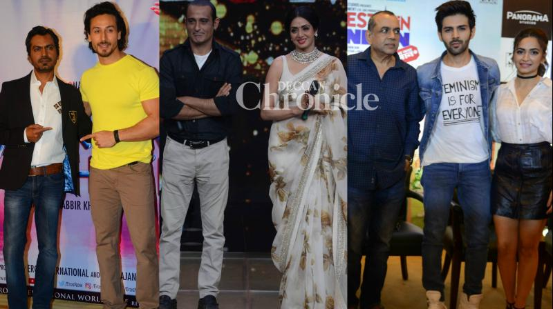 The teams of the films 'Mom', 'Munna Michael' and 'Guest Iin London' conducted events for the promotions of their respective films on Wednesday. (Photo: Viral Bhayani)