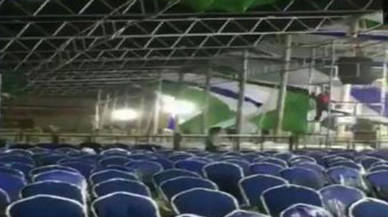 The sudden change in weather has affected the preparations at the Indira Gandhi Municipal Stadium. (Photo: ANI)