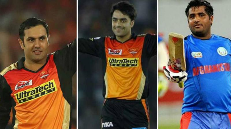 All the eight franchises will be locked in battle to sign Mohammad Nabi (left), Rashid Khan (middle) and Mohammad Shahzad (right) in the auction. (Photo: BCCI / AP / PTI)