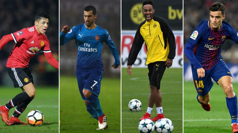 While Alexis Sanchez and Henrikh Mkhitariyan swapped clubs Philippe Countinho and Pierre Emerick Aubameyang made big money move to BVarcelona and Arsenal respectively