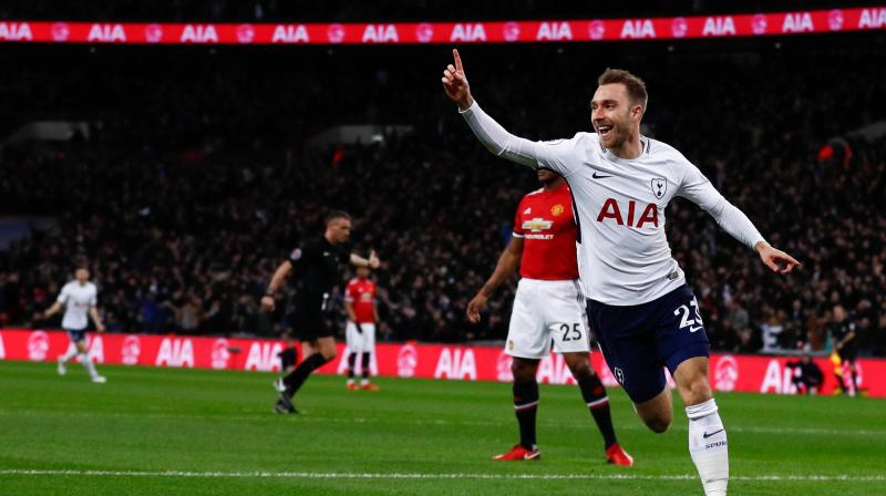 Christian Eriksen scored for Tottenham Hotspurs within 11 seconds of the start of the match against Manchester United. (Photo: AP)