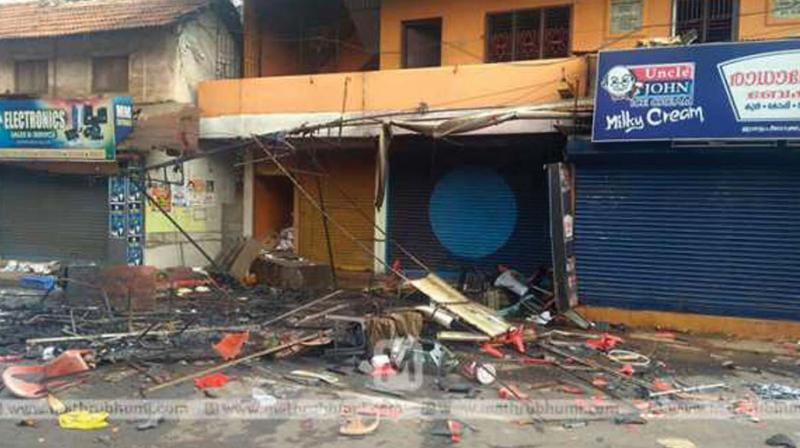 Shop of a BJP worker which came under attack at Palloor, Mahe.